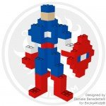 Captain America model made with LEGO bricks