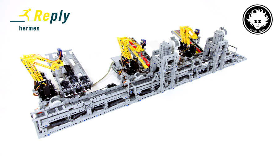 LEGO car factory with 3 modules, assembling cars in pipeline