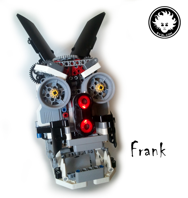 A LEGO MINDSTORMS EV3 animatronic head built with Education core set 45544