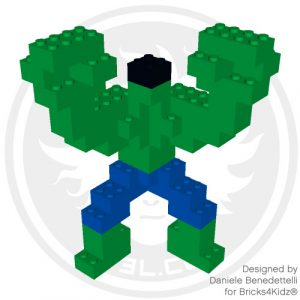 Hulk model made with LEGO bricks