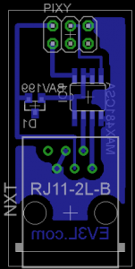 The layout of the Pixy to NXT adapter