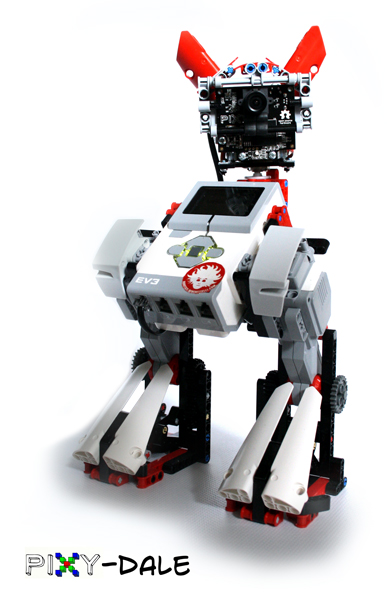 This LEGO mecha can track colorful objects thanks to the Pixy Camera with pan and tilt