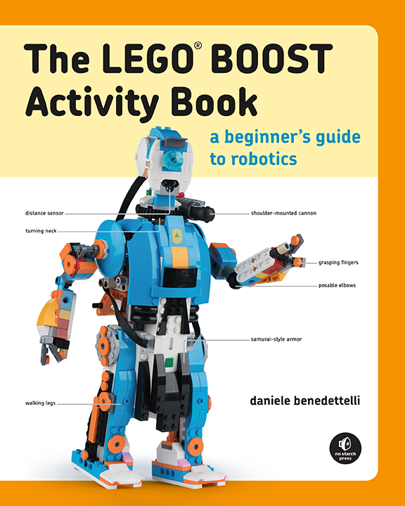 The cover of the LEGO BOOST Activity book, in full color!
