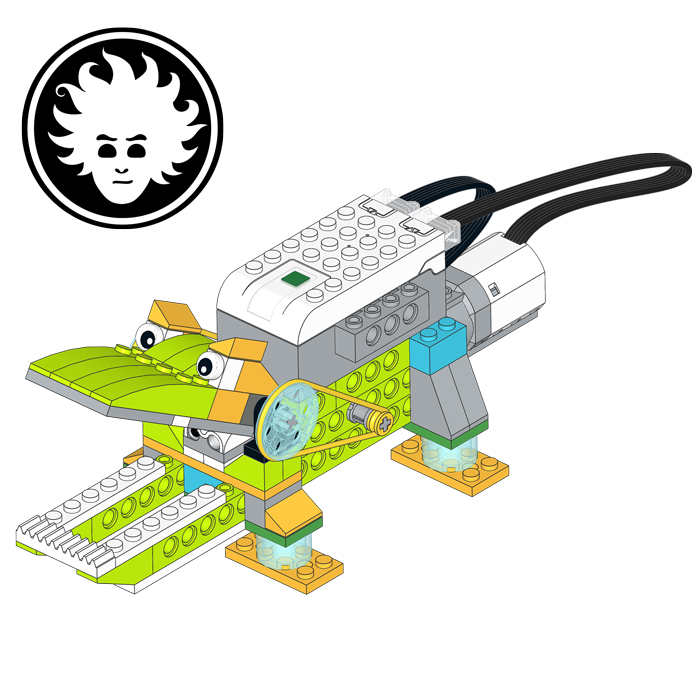A LEGO WeDo 2.0 crocodile, that bites whatever ends within its jaws!