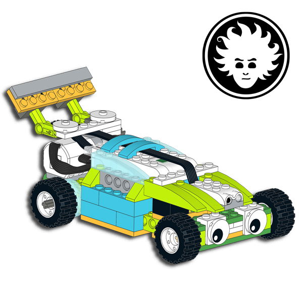 A race car built with LEGO WeDo 2.0 that can drive and steer!