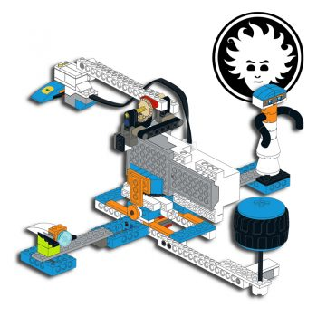A spaceship arcade game built with LEGO BOOST set 17101