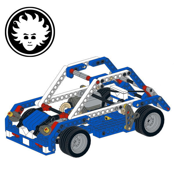 This car can drive straight and steer going backwards. It's built with a single LEGO 9686 set