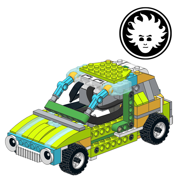 This is LEGO WeDo 2.0 four wheel drive car (4WD) that can travel across rough terrains