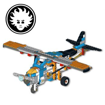 A LEGO airplane built with LEGO BOOST creative toolbox, with spinning propeller and moving ailerons