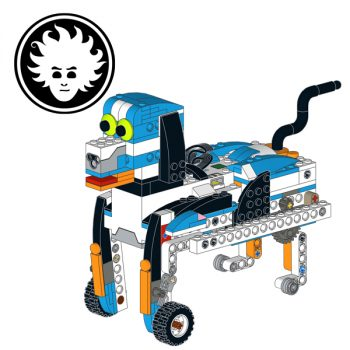 a cute LEGO BOOST puppy that walks, sits down, bark