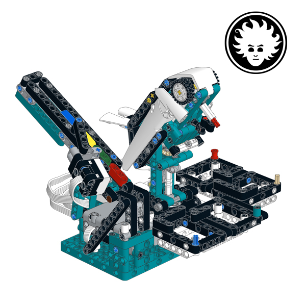 A LEGO robot bird, that you can train to sort bricks by color, built with the LEGO MINDSTORMS Robot Inventor set 51515.